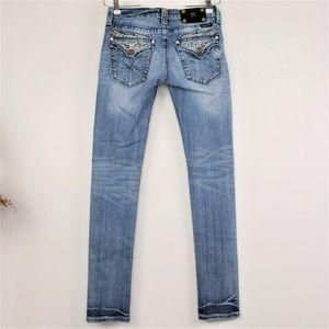 Miss Me Skinny Jeans Embellished Light Wash sz 27